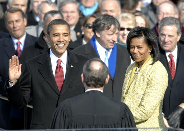 Barack Obama takes the oath of office at his inauguration on January 20, 2009. Photo credit: Master Sgt. Cecilio Ricardo, U.S. Air Force/Flickr.