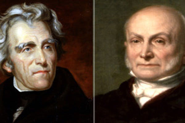 The 1824 election showdown between Andrew Jackson (left) and John Quincy Adams (right) was notoriously nasty and chaotic. Photo credit: Creative Commons.