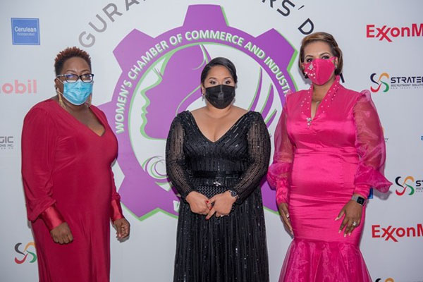 First Lady, Arya Ali (centre) pictured with President of the Women's Chamber of Commerce and Industry of Guyana, Kerensa Gravesande-Bart (left), and the organisation's Vice-president, Lyndell Danzie-Black.