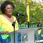 Barbados' Prime Minister, Mia Amor Mottley, speaking at celebrations for Barbados' 54th anniversary of Independence at National Heroes Square on Monday. Photo credit: E. Brooks/BGIS.