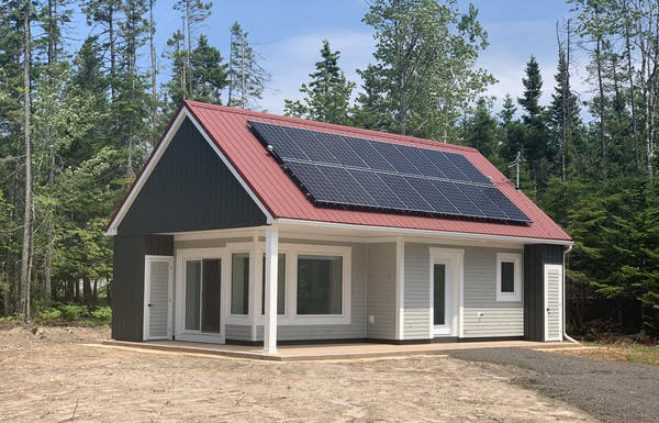 The solar panels on the roof at the Net Zero Certified and Passive House construction (the author's home) in Valley, N.S. Photo credit: Little Foot Properties, Inc. Author provided.