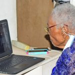 Barbados' newest centenarian, Edna Lewis, chatting with Governor-General Dame Sandra Mason, via Skype. Photo credit: C. Pitt/BGIS.