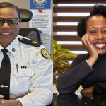 Stacy Clarke (left), TPS Unit Commander of the Community Partnerships and Engagement Unit; and Audrey Campbell, former President of the Jamaican Canadian Association (JCA) are co-Chairs of the Police and Community Engagement Review (PACER) Committee. Audrey Campbell's photo credit: Wendy Vincent.