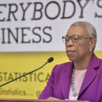 Statistical Institute of Jamaica (STATIN) Director General, Carol Coy, speaks during STATIN's digital quarterly briefing, yesterday (April 15). Photo credit: Yhomo Hutchinson/JIS.