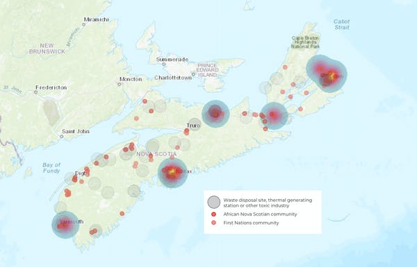 Locations of African Nova Scotian communities, First Nations communities and toxic facilities in Nova Scotia. Credit: (ENRICH Project).