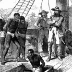 Illustration of African captives being transferred to ships along the Slave Coast for the transatlantic slave trade, c. 1880. Photo credit: Britanica.