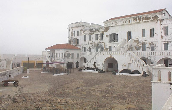 The Cape Coast Castle, as rebuilt by the British in the 18th century. It was a slave castle used in the trans-Atlantic slave trade for more than 100 years. Photo credit: David Ley; CC BY-SA 3.0.