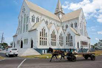 St. Georges Cathedral in Georgetown, Guyana, a wooden Anglican church that has been designated a National Monument, reaches a height of 143 feet, and is the seat of the Bishop of Guyana. Is was designed by Sir Arthur Blomfield, opened on August 24, 1892, and was completed in 1899.