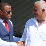 Premier of Nevis, Mark Brantley (left), who is also the island's Minister of Tourism and Foreign Investment; and Philippe Martinez, MSR Media's producer and director, on set in Nevis in February this year.